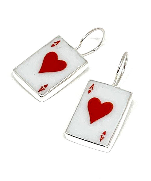 Ace of Hearts Vintage Pottery Single Drop Earrings