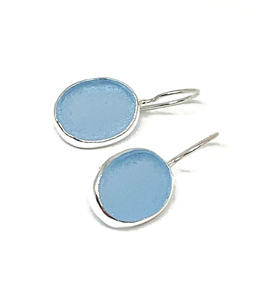 Aqua Sea Glass Oval Shaped Single Drop Earrings