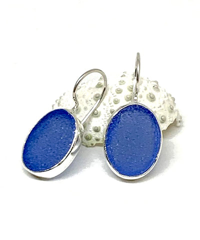 Blue Sea Glass Oval Single Drop Earrings