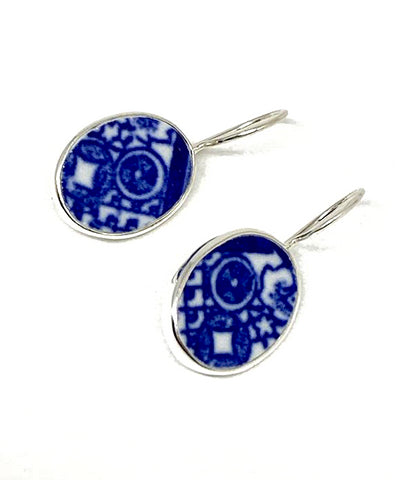 Blue & White Geometric Oval Vintage Pottery Single Drop Earrings