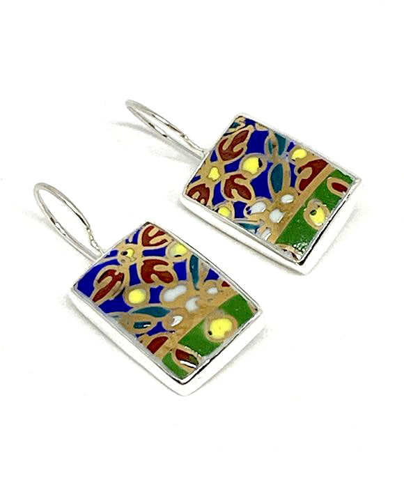 Bold Patterned with Gold Detail Vintage Pottery Rectangle Single Drop Earrings