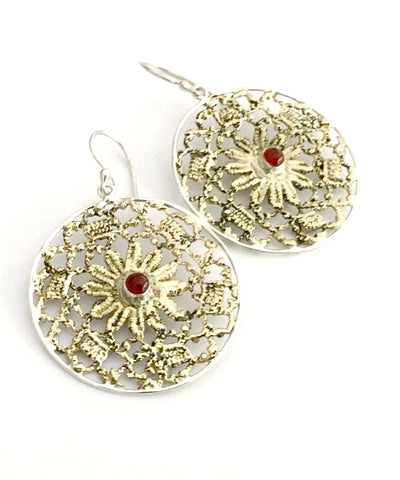 Antique Lace Cast in Yellow Brass & Sterling Silver with Carnelian Stone Earrings