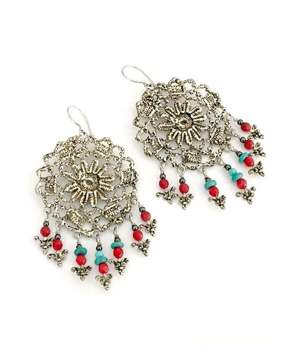 Antique Lace Cast in White Brass with Red Coral and Turquoise Fringe Earrings