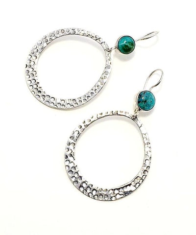 Turquoise Hammered Hoop Earrings
