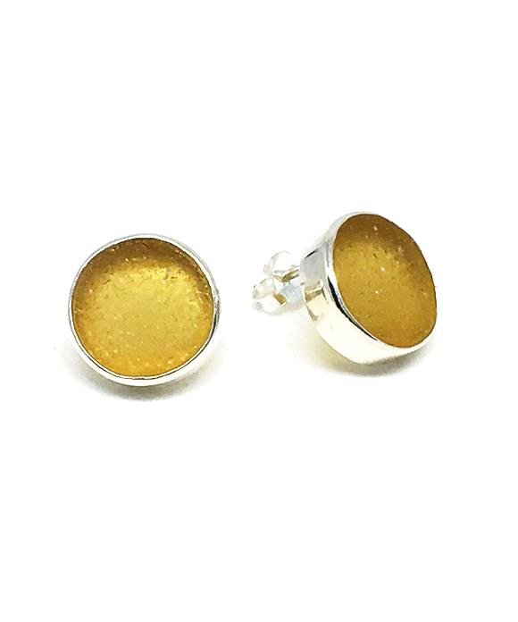 Amber Round Sea Glass Post Earrings