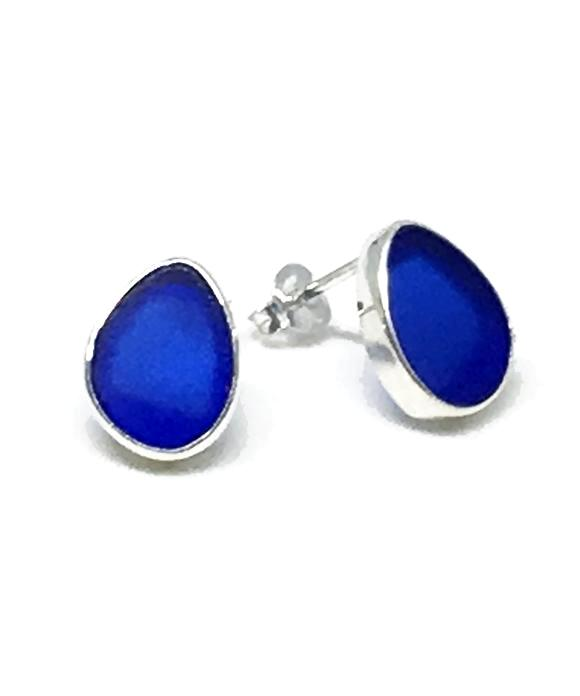 Cobalt Sea Glass Natural Shape Post Earrings