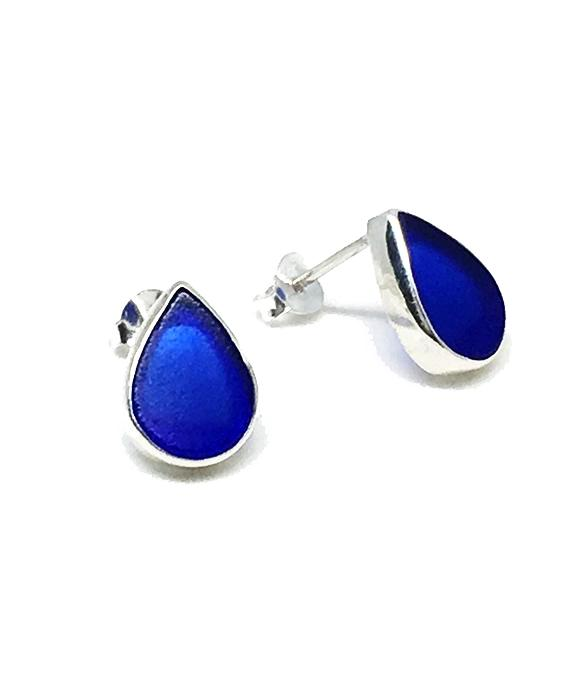 Cobalt Sea Glass Teardrop Post Earrings