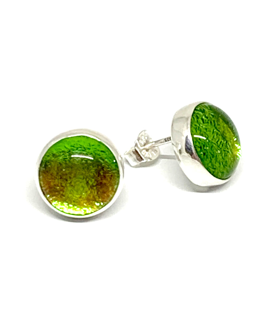 Sparkly Green Glass Post Earrings