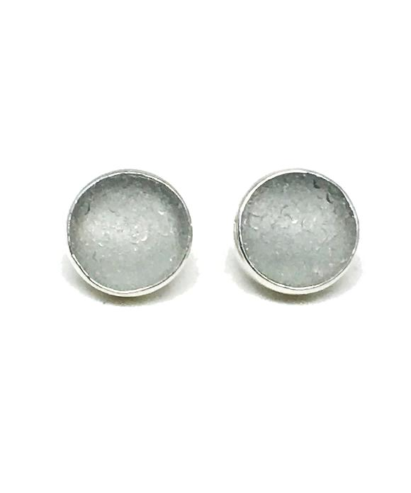 Light Gray Round Sea Glass Post Earrings