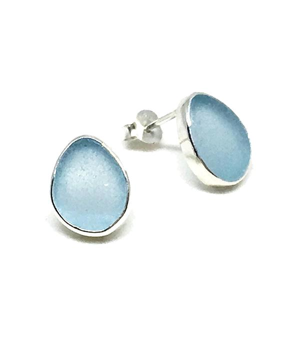 Light Blue Sea Glass Natural Shape Post Earrings
