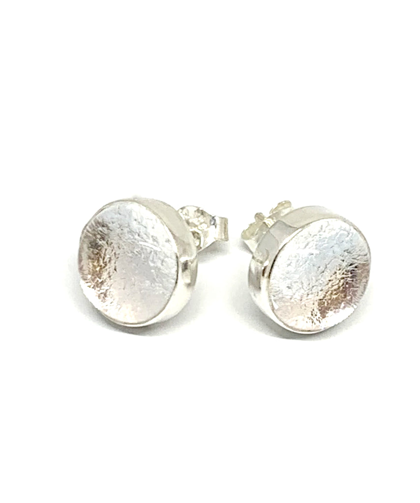 Sparkly Silver Glass Post Earrings
