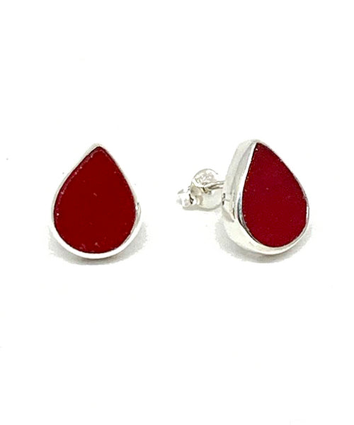 Dark Opaque Red Teardrop Stained Glass Post Earrings