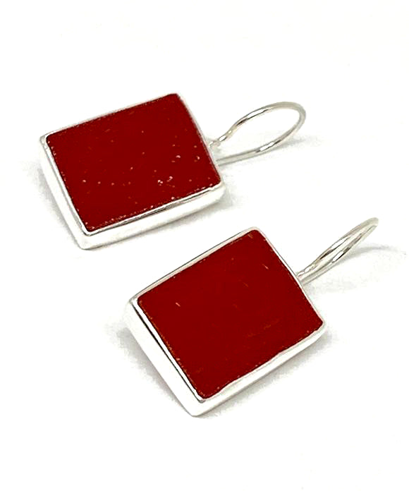 Dark Opaque Red Stained Glass Rectangle Shaped Single Drop Earrings