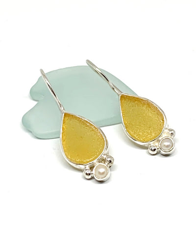 Amber Sea Glass Teardrop with Pearl Earrings