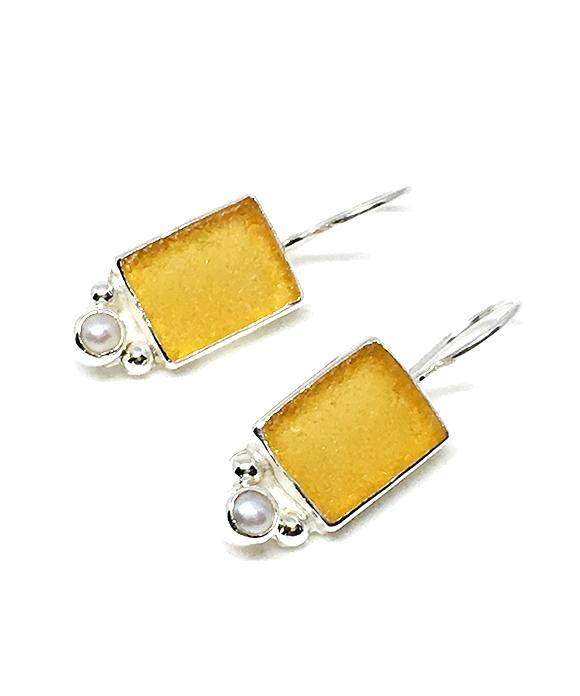 Amber Rectangle Sea Glass with Pearl Earrings