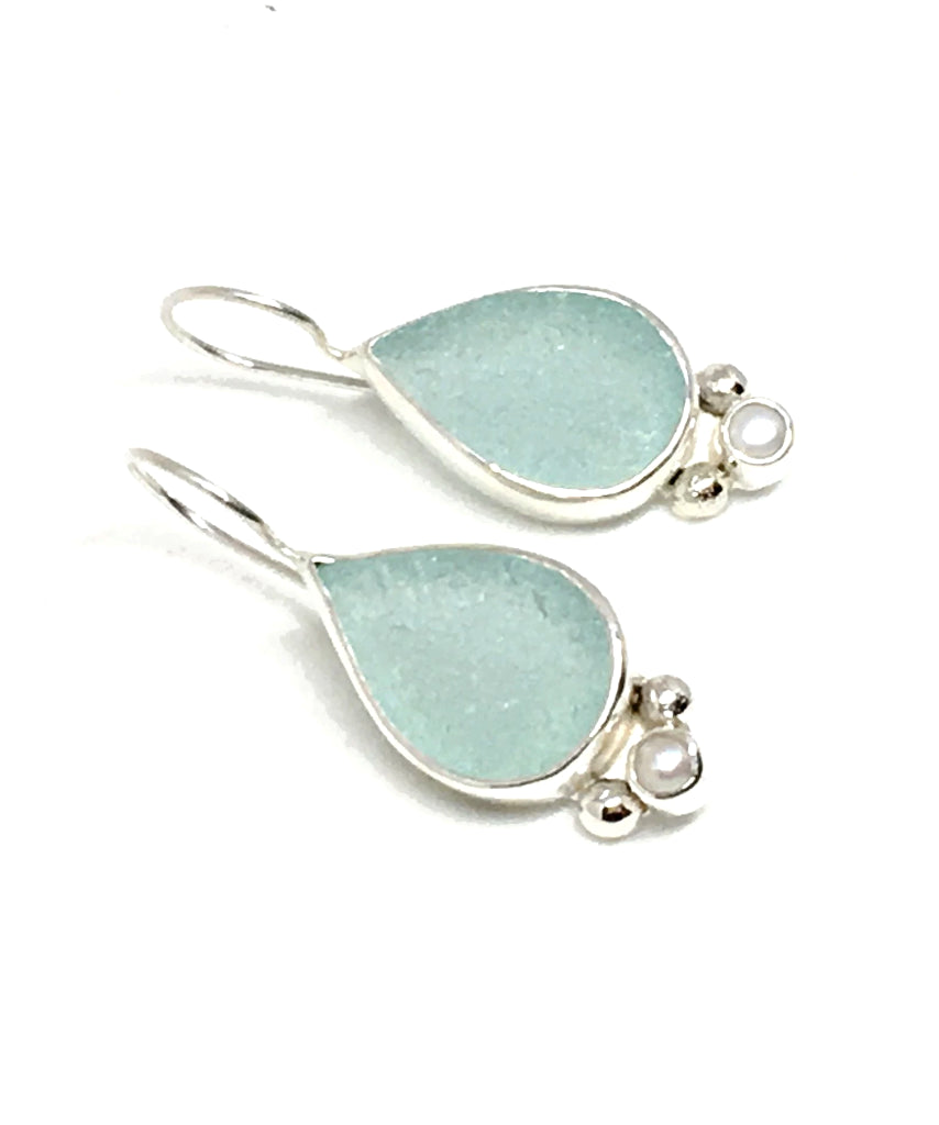 Aqua Teardrop Sea Glass with Pearl Earrings