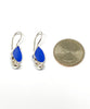 Blue Sea Glass Teardrop with Pearl Earrings