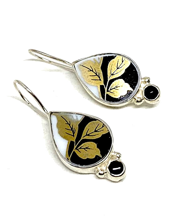 Gold Leaf on Black Vintage Pottery and Black Onyx Stone Single Drop Earrings