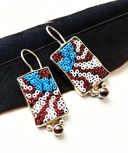 Brown and Blue Abstract Beaded Fused Glass Earrings with Pearls
