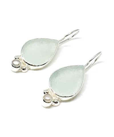 Soft Aqua Sea Glass with Pearl Earrings