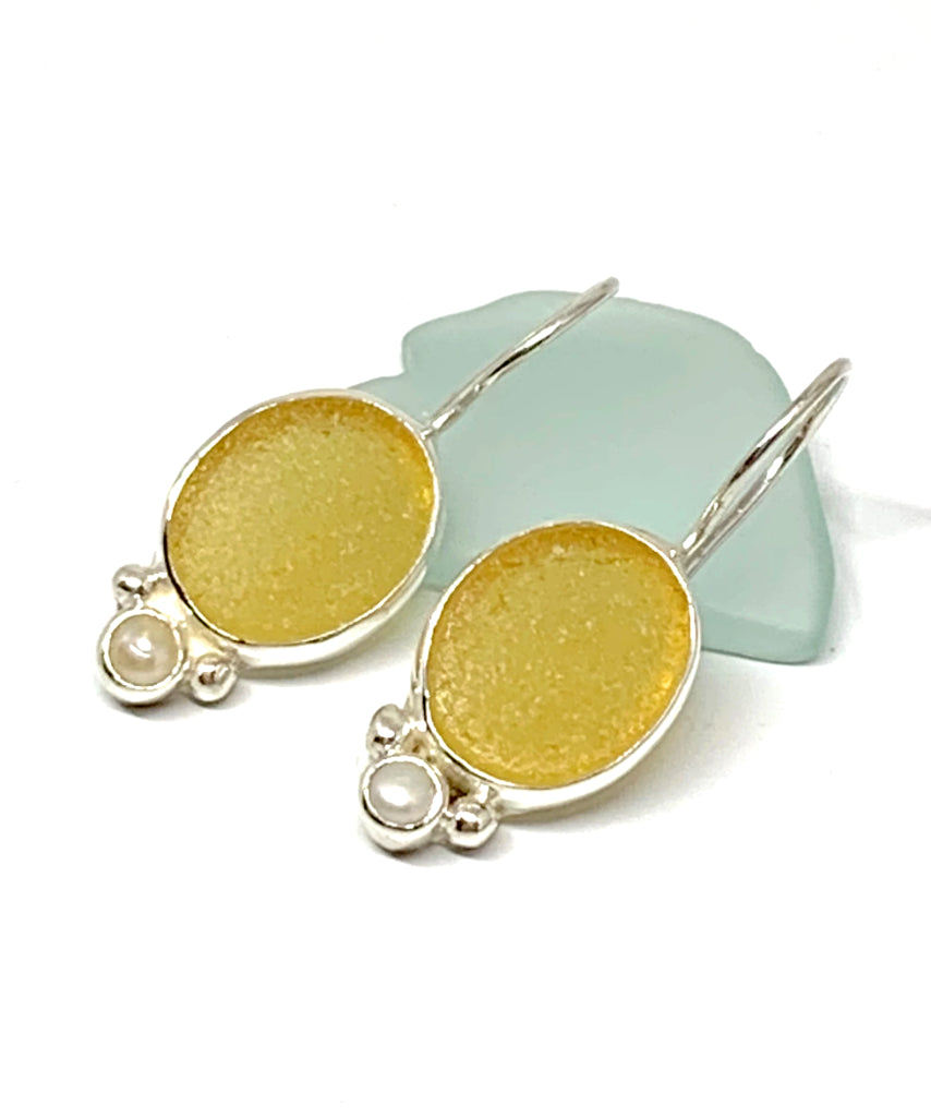 Amber Oval Sea Glass with Pearl Earrings
