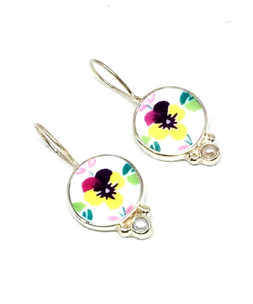 Yellow Pansy Vintage Pottery and Pearl Single Drop Earrings