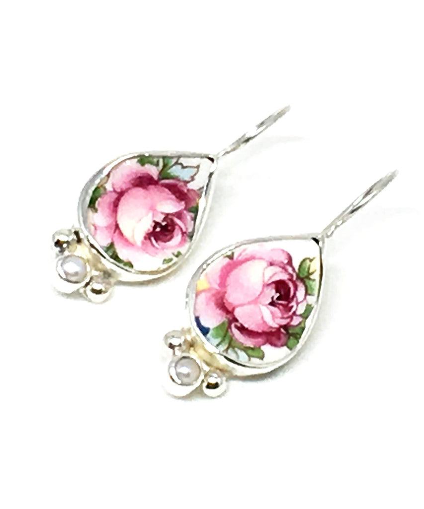 Pink Rose Vintage Pottery and Pearl Single Drop Earrings
