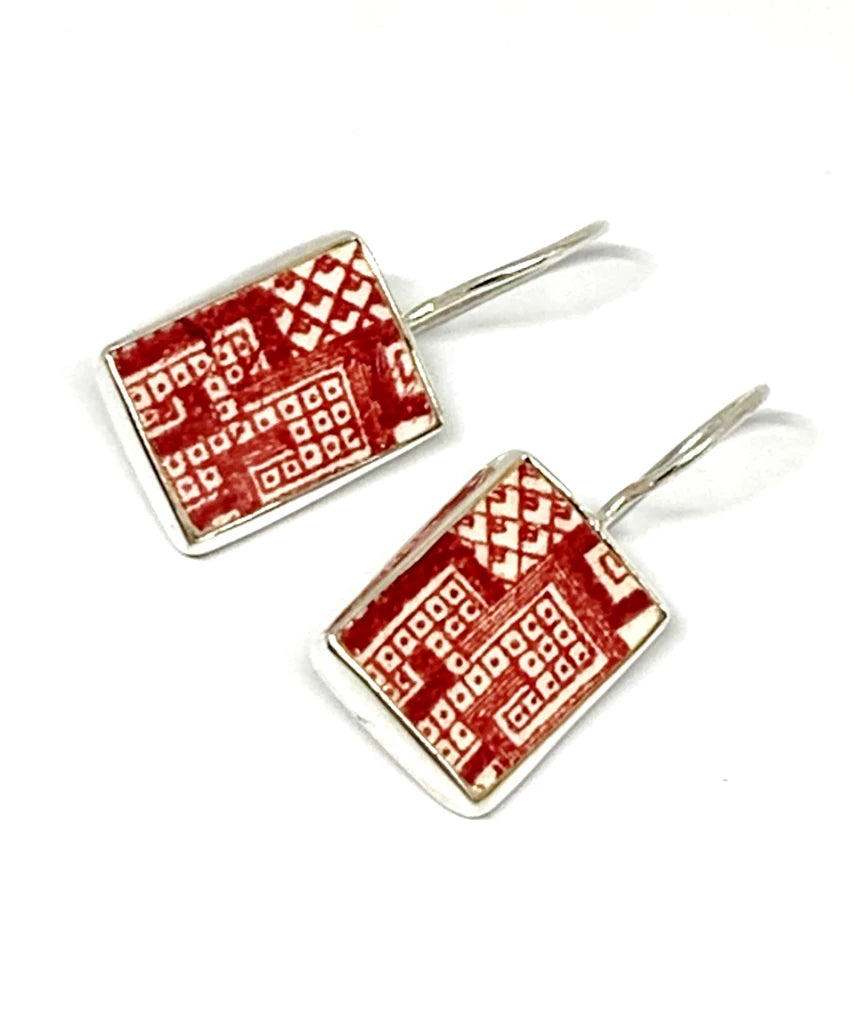 Red & White Geometric Rectangle Vintage Pottery Single Drop Earrings