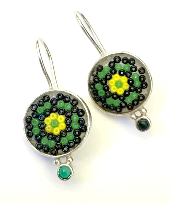 Green, Black & Yellow Beaded Fused Glass Earrings with Green Agate