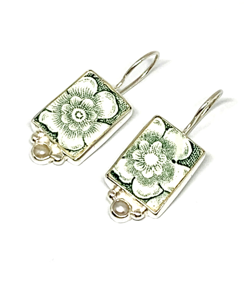 Green Flower Transfer Ware Vintage Pottery with White Pearl Single Drop Earrings
