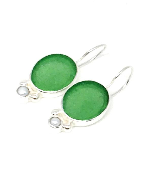 Oval Green Sea Glass with Pearl Earrings