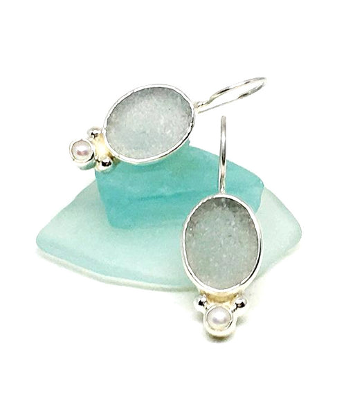 Light Gray Oval Green Sea Glass with Pearl Earrings