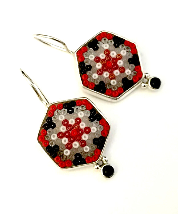 Red, Black & Grey Beaded Fused Glass Earrings with Black Onyx