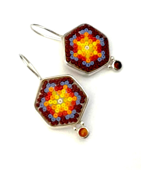 Rust, Blue & Orange Beaded Fused Glass Earrings with Carnelian Stones