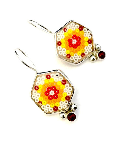 White & Orange Beaded Fused Glass Earrings with Carnelian Stones