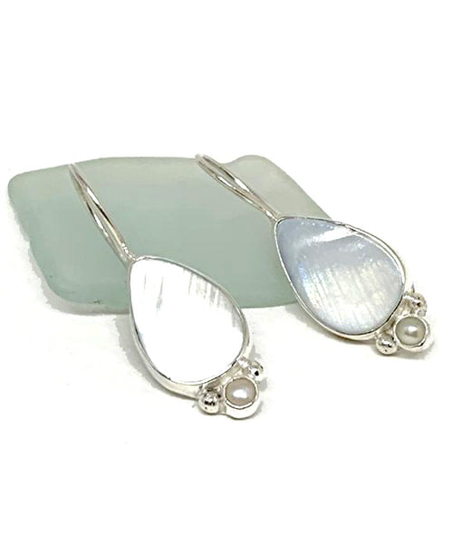 White Mother of Pearl with Pearl Single Drop Earrings
