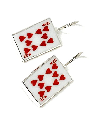 10 of Hearts Playing Card Vintage Pottery Single Drop Earrings