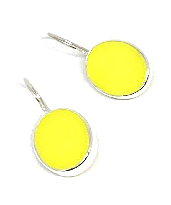 Bright Yellow Oval Stained Glass Single Drop Earrings