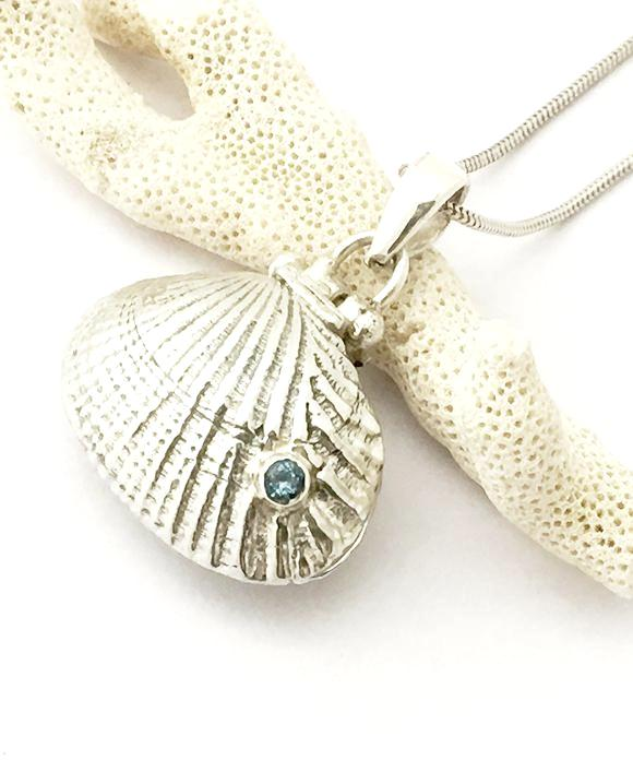 Sterling Shell Locket with Blue Topaz & Soft Blue Sea Glass on Silver Chain