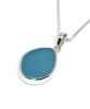 Aqua Sea Glass Single Pendant on Silver Chain