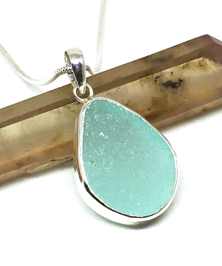Soft Aqua Sea Glass Single Pendant on Silver Chain