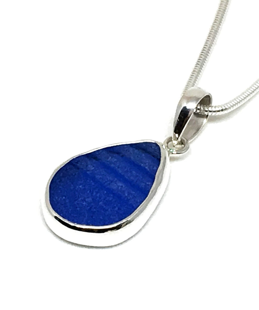 Small Textured Blue Sea Glass Single Pendant on Silver Chain