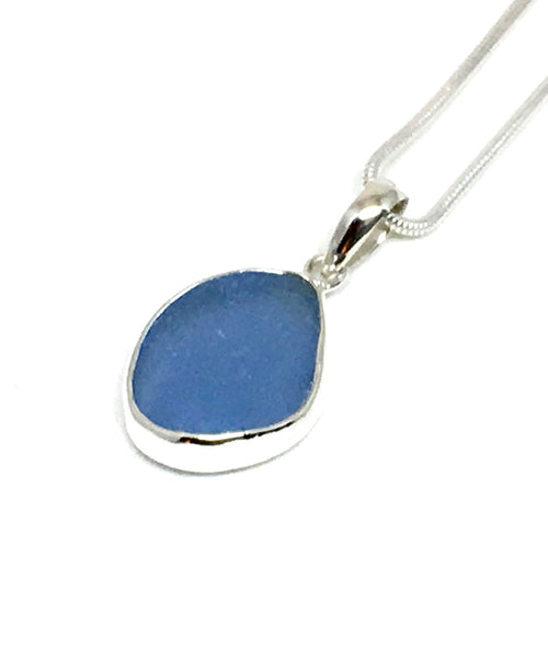 Small Corn Flower Blue Sea Glass Single Pendant on Silver Chain