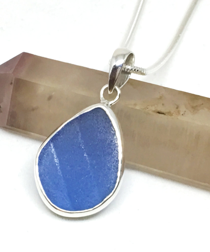 Textured Corn Flower Blue Sea Glass Single Pendant on Silver Chain