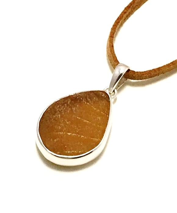 Textured Light Brown Sea Glass Single Pendant on Suede Cord