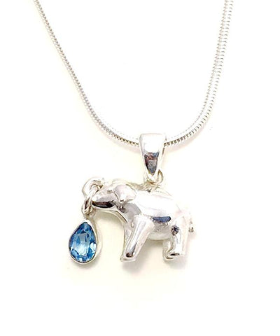 Sterling Elephant & Faceted Blue Topaz Pendant on Silver Chain