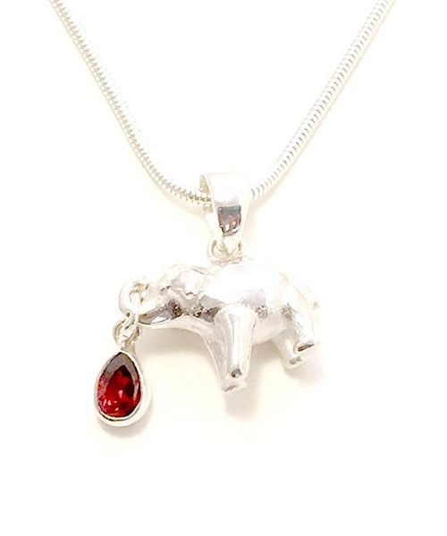 Sterling Elephant & Faceted Garnet Pendant on Silver Chain