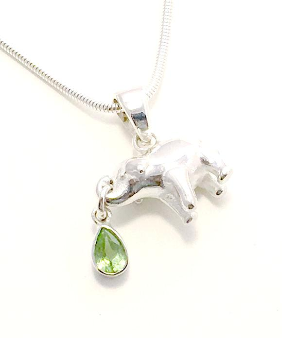 Elephant & Faceted Peridot Pendant on Silver Chain