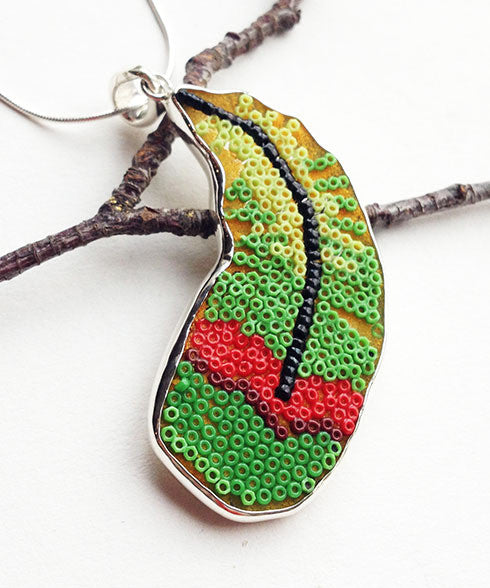 Green and Red Fused Beaded Parrot Feather Pendant on Sterling Silver Chain