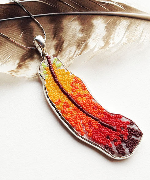 Orange, Rust and Red Fused Beaded Feather Pendant on Sterling Silver Chain